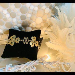 Pilgrim Brass Bracelet with black stones BN